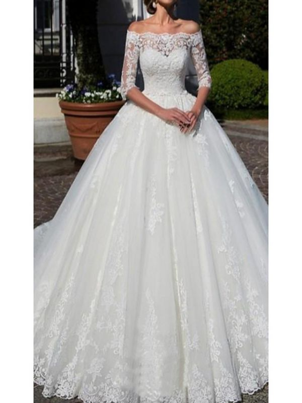 A-Line Wedding Dress Off Shoulder Lace Half Sleeve Bridal Gowns with Chapel Train