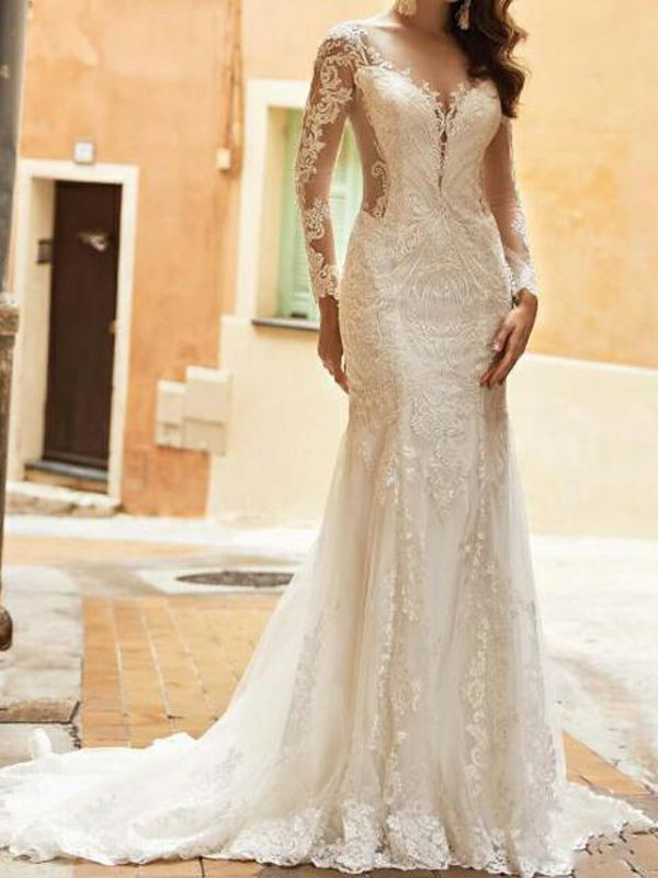 Mermaid Wedding Dresses V-Neck Tulle Polyester Long Sleeve Bridal Gowns Country Plus Size Sweep Train
