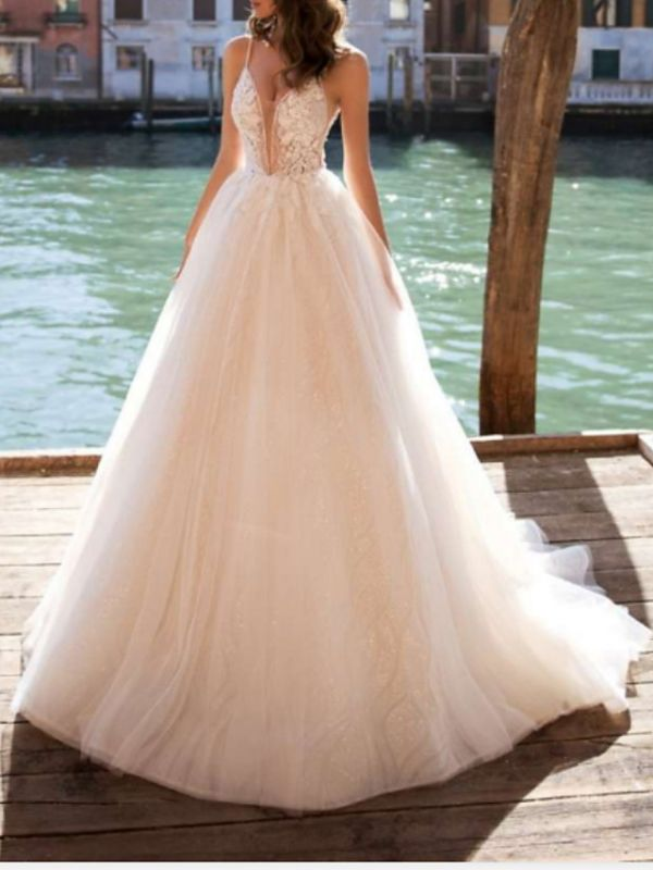 Boho See-Through A-Line Wedding Dress V-Neck Tulle Charmeuse Spaghetti Strap Bridal Gowns Court Train