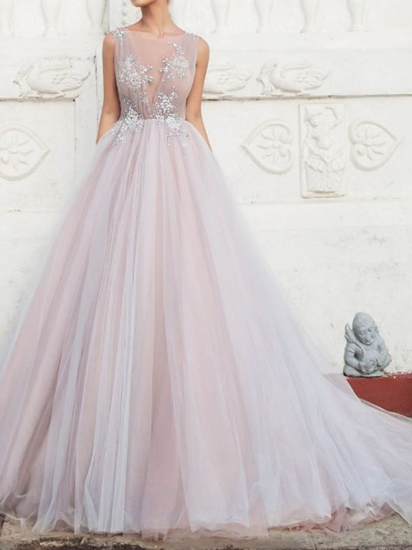 A-Line Wedding Dresses Jewel Tulle Polyester Sleeveless Bridal Gowns Country Plus Size Sweep Train