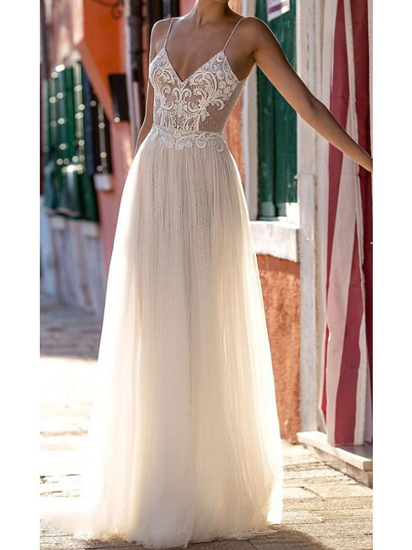 Country Plus Size A-Line Wedding Dress Spaghetti Strap Sleeveless Bridal Gowns On Sale