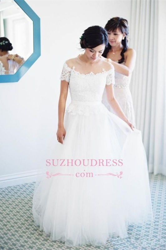 Short-Sleeve Vintage Tulle Princess Lace Floor Length Zipper Wedding Dress