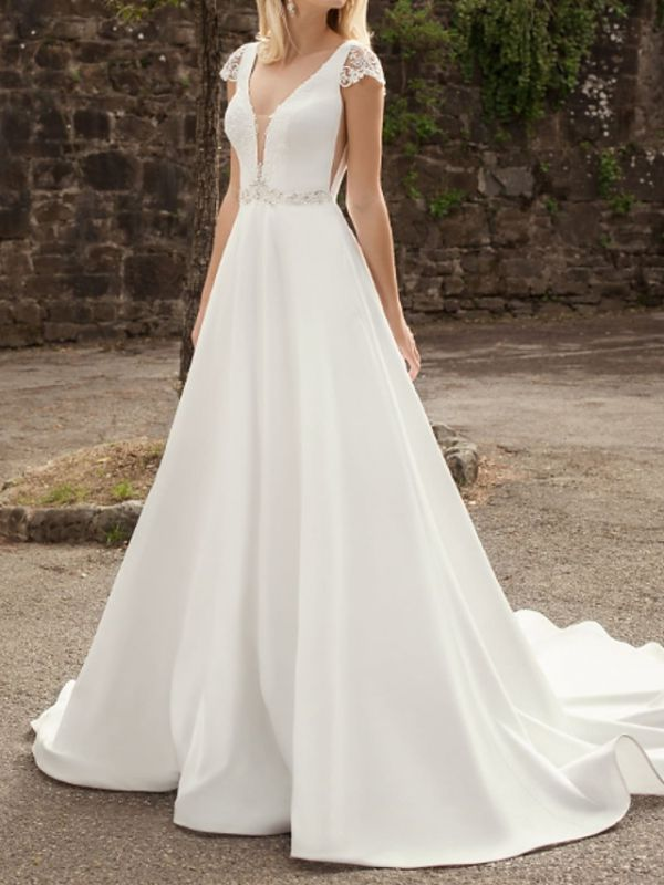 A-Line Wedding Dresses V-Neck Lace Chiffon Over Satin Cap Sleeve Bridal Gowns Country Plus Size Sweep Train