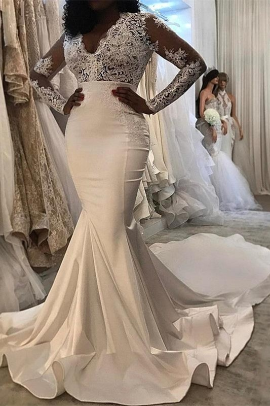 Sexy Lace Trumpet/ Mermaid Wedding Dresses | White Chic Wedding Dress