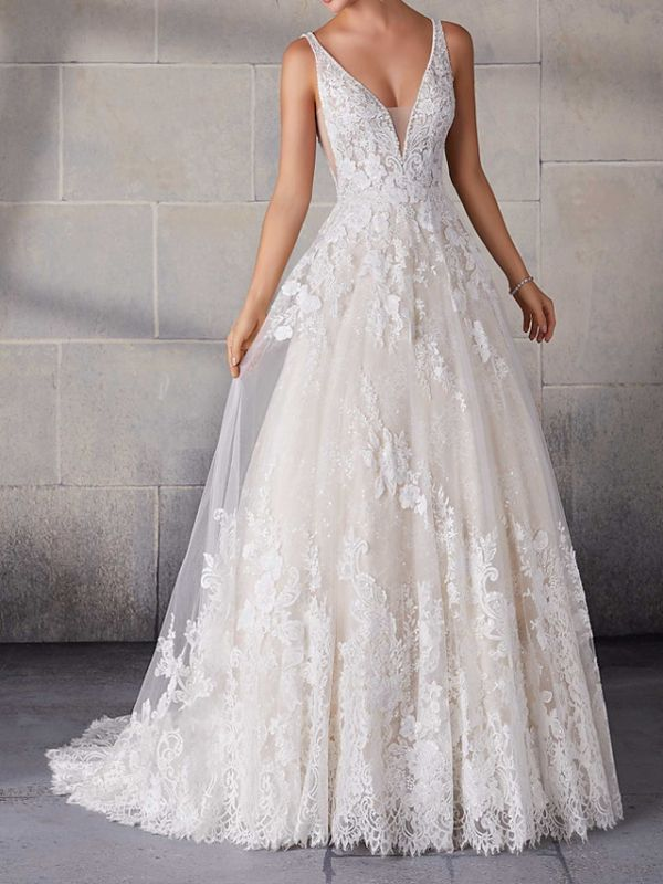 A-Line Wedding Dresses Spaghetti Strap Lace Tulle Sleeveless Bridal Gowns Country Plus Size Sweep Train