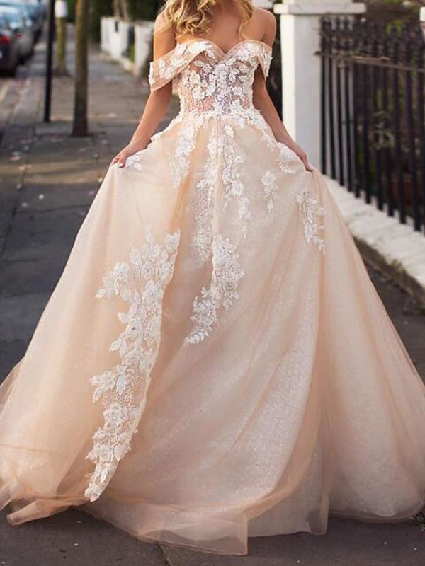A-Line Wedding Dresses Jewel Lace Tulle Short Sleeve Bridal Gowns Bridal Gowns in Color Court Train