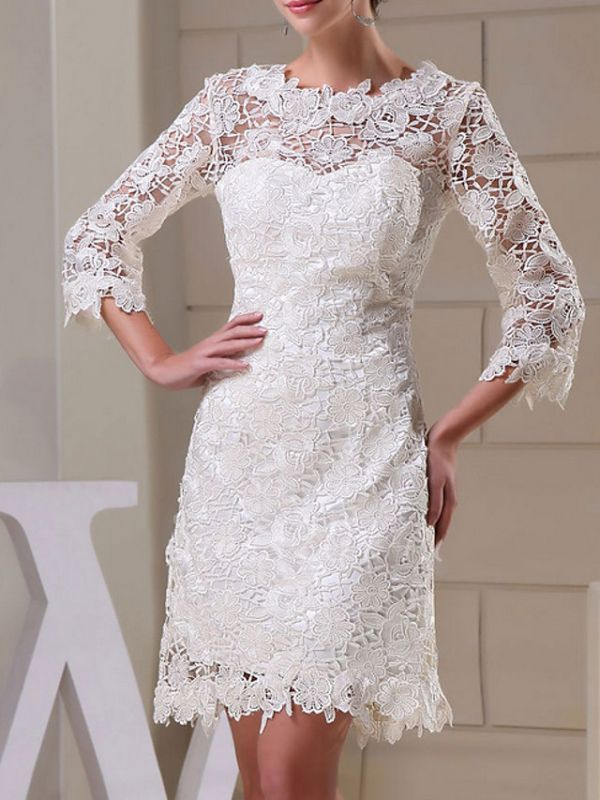 Formal Sheath Wedding Dress Jewel Knee Length Lace Long Sleeves Bridal Gowns On Sale