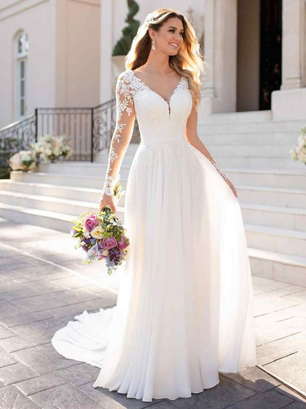 Elegant A-Line Chiffon Wedding Dresses Romantic V-Neck Lace Long Sleeve Bridal Gowns with Chapel Train
