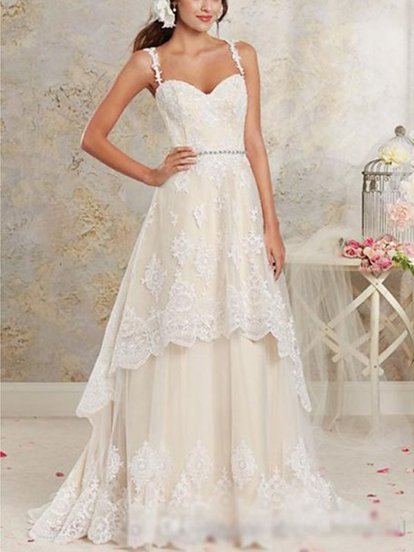 Asymmetrical A-Line Wedding Dress Sweetheart Lace Tulle Lace Spaghetti Strap Bridal Gowns Sweep Train