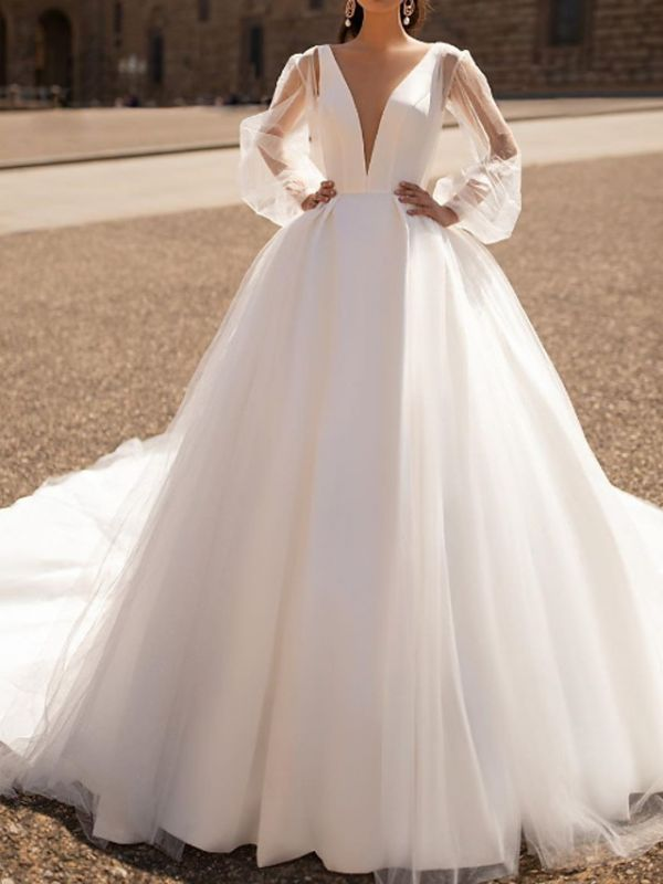 Illusion A-Line Wedding Dress Plunging Neck Tulle Chiffon Long Sleeve Formal Plus Size Bridal Gowns Court Train