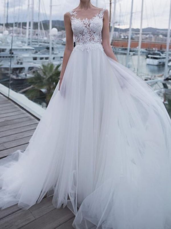 Country A-Line Wedding Dress Scoop Polyester Sleeveless Plus Size Bridal Gowns Sweep Train