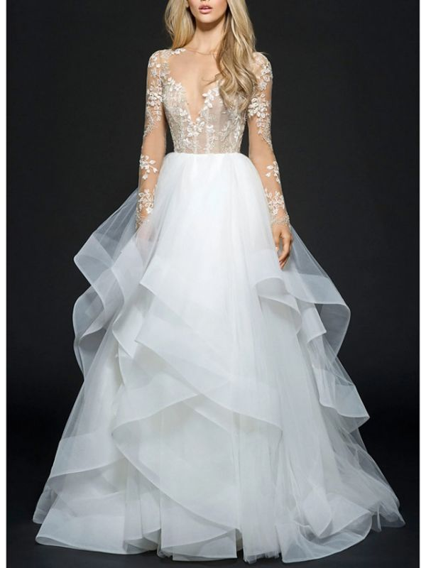 Style Ball Gown Wedding Dresses V Neck Organza Long Sleeve Bridal Gowns Online