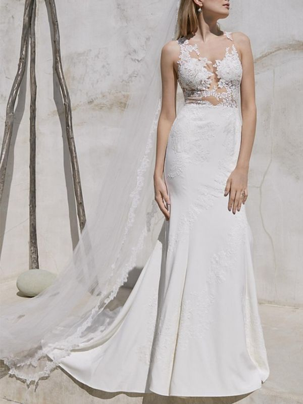 Plus Size Mermaid Wedding Dress V-Neck Lace Satin Straps Bridal Gowns with Sweep Train
