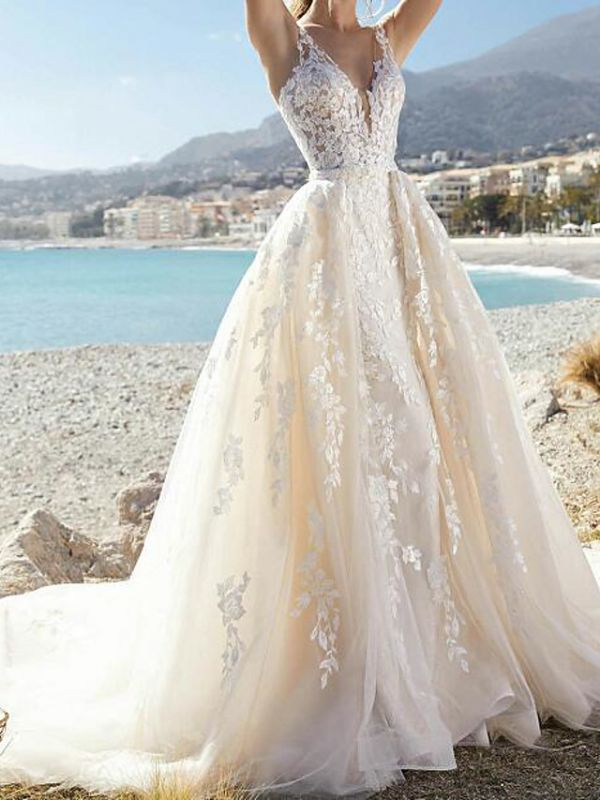 Sexy A-Line Wedding Dresses V-Neck Lace Tulle Sleeveless Bridal Gowns Formal See-Through Court Train