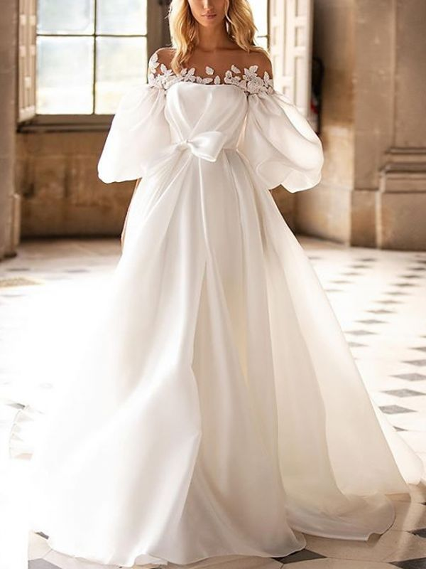 Country A-Line Wedding Dress Off Shoulder Satin Half Sleeves Plus Size Bridal Gowns with Sweep Train