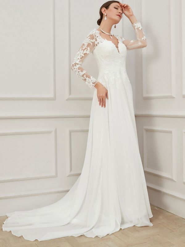 Formal Sheath Wedding Dress V-Neck Lace Tulle Long Sleeves Plus Size Bridal Gowns with Sweep Train