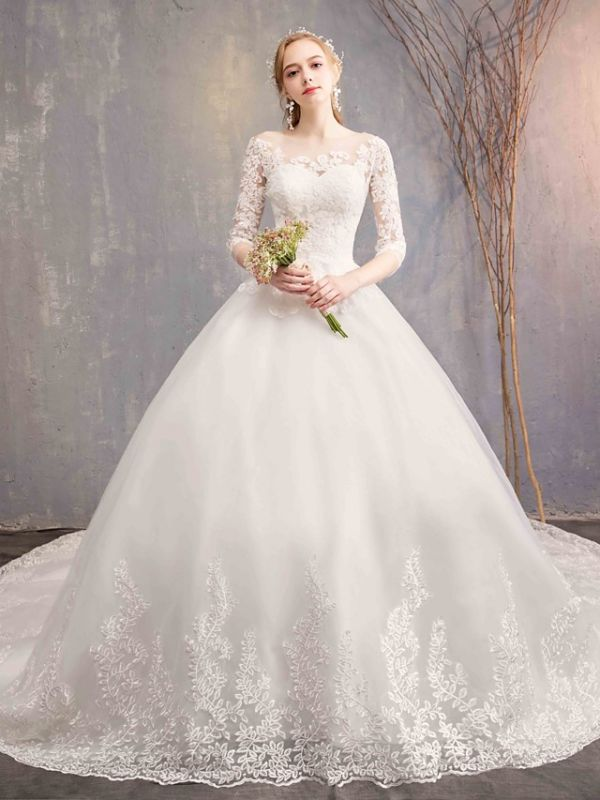 Ball Gown Wedding Dress Jewel Tulle Lace Half Sleeve Bridal Gowns Chapel Train