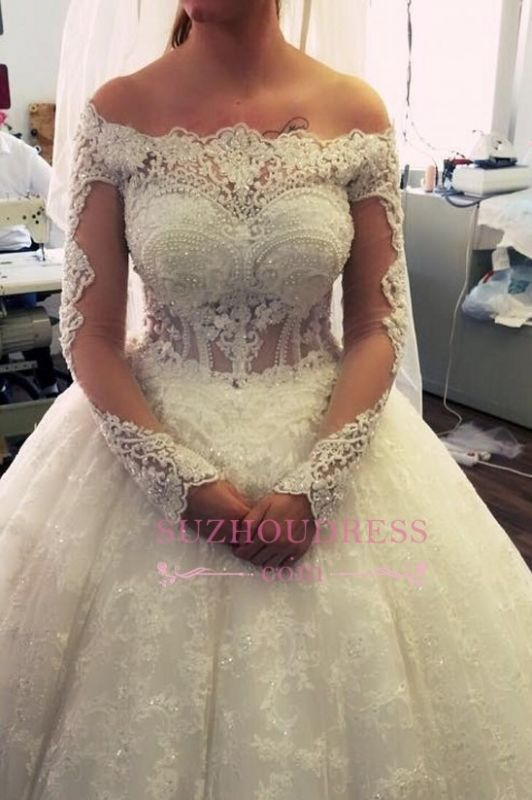 2020 Amazing Ball-Gown Off-the-Shoulder Lace Long-Sleeves Pearls Wedding Dresses