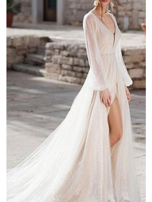 A-Line Wedding Dress V-Neck Tulle Long Sleeve Bridal Gowns Sweep Train
