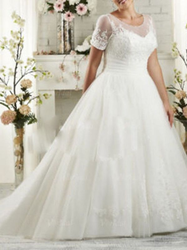 Affordable A-Line Wedding Dress Scoop Lace Short Sleeve Bridal Gowns Sweep Train