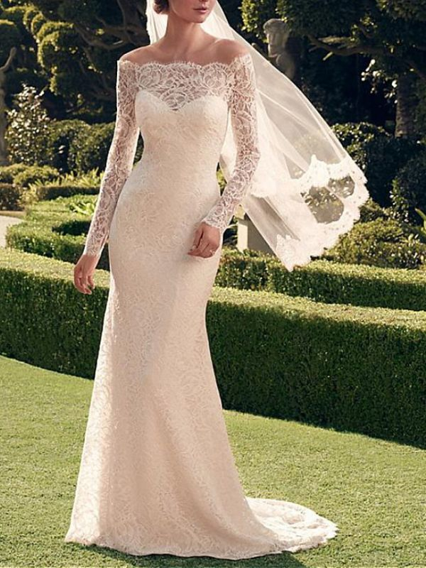 Sexy See-Through Mermaid Wedding Dress Off Shoulder Lace Long Sleeve Romantic Bridal Gowns Sweep Train