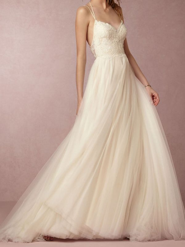 Simple Plus Size A-Line Wedding Dress V-Neck Lace Tulle Spaghetti Strap Bridal Gowns Sweep Train
