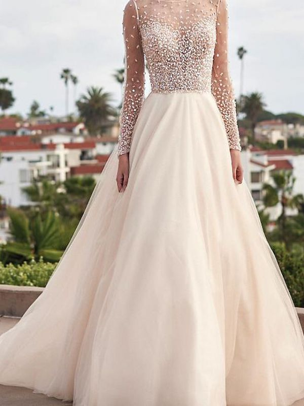 A-Line Wedding Dresses Jewel Tulle Long Sleeve Bridal Gowns Country Plus Size Sweep Train