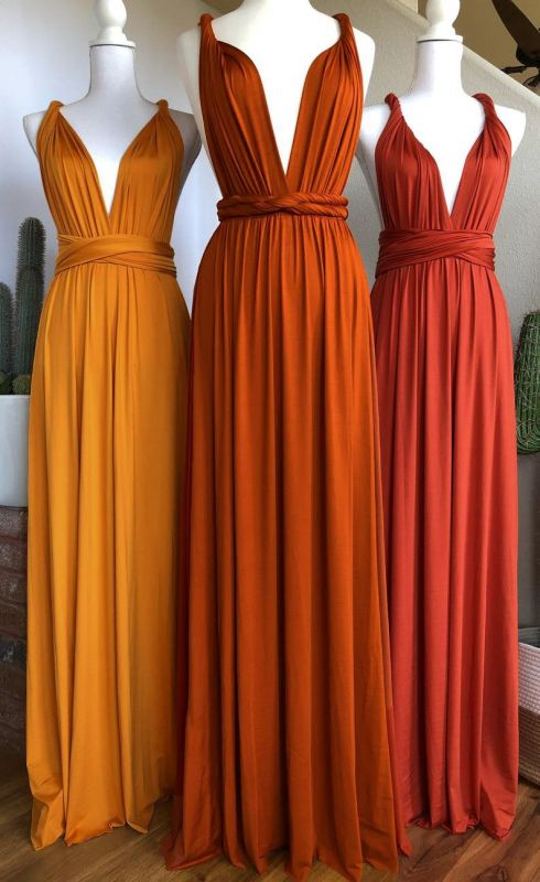 Sexy Organge Sleeveless Convertible Bridesmaid Dress with Rullfes Online