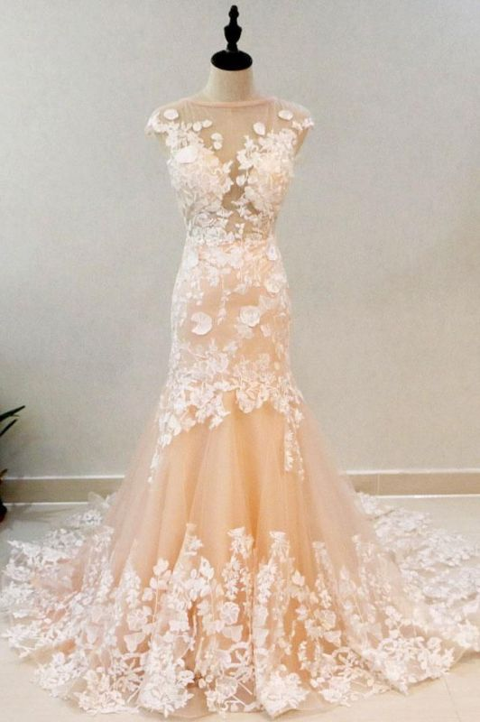 Luxury High Neck Rose Gold Prom Dress With Lace Appliques