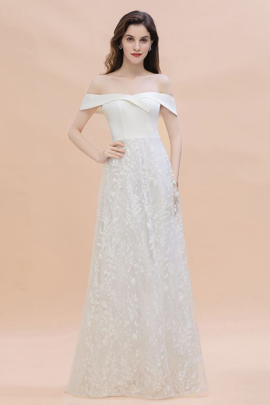Chic A-Line Off-Shoulder Lace Long Evening Dress in Stock