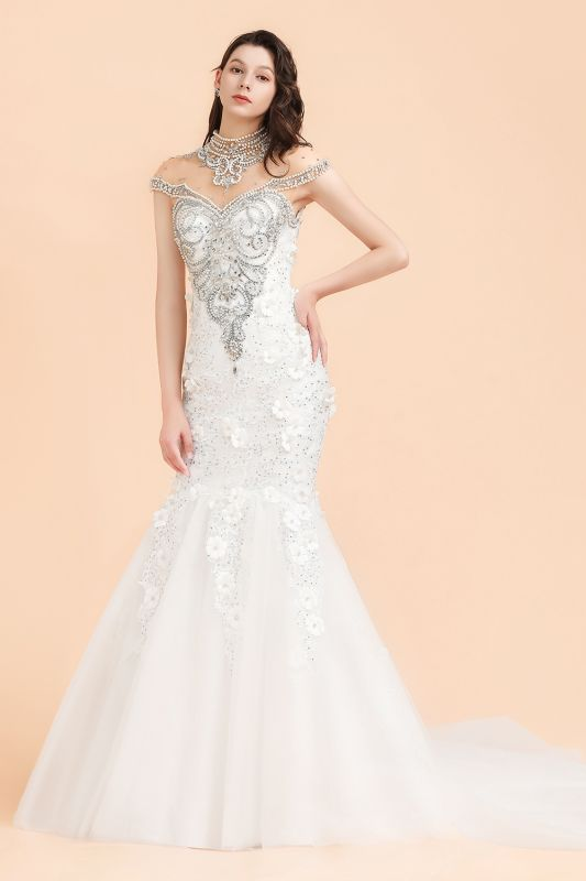Luxury Mermaid Wedding Dress | Tulle Lace Sequins Sleeveless Bridal Gowns with Pearls