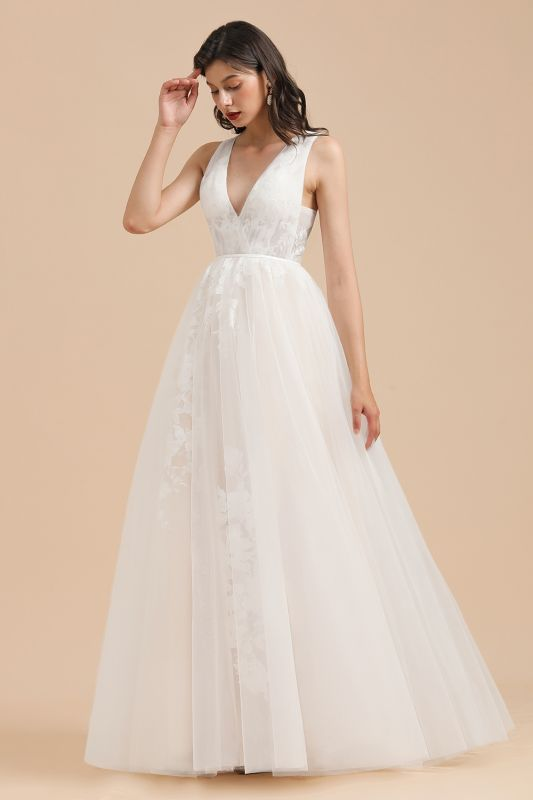 Simple Ivory V-Neck Tulle Lace Wedding Dress | Appliques Garden Bridal Gowns
