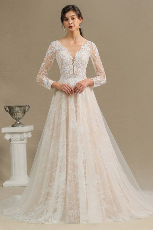 Chic A-line Tulle Lace Wedding Dress | Long Sleeves Ivory Bridal Gowns