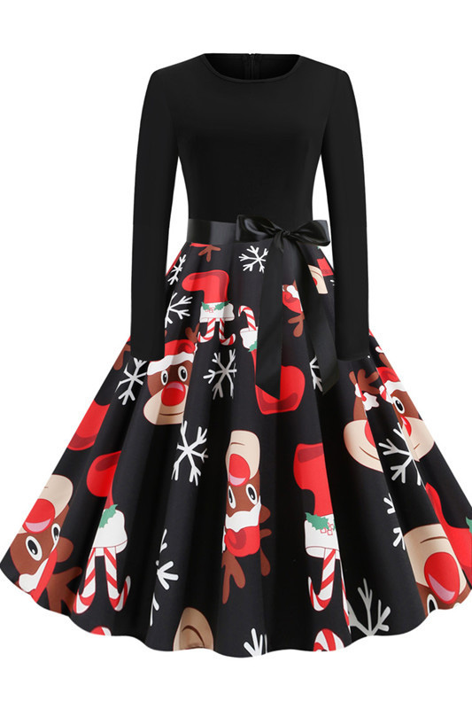 New Year Christmas Black Long Sleeve Dress SD1007