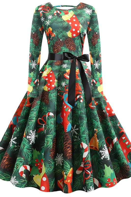 Fashion Long Sleeve Green Christmas Party Dress Printed SD1031