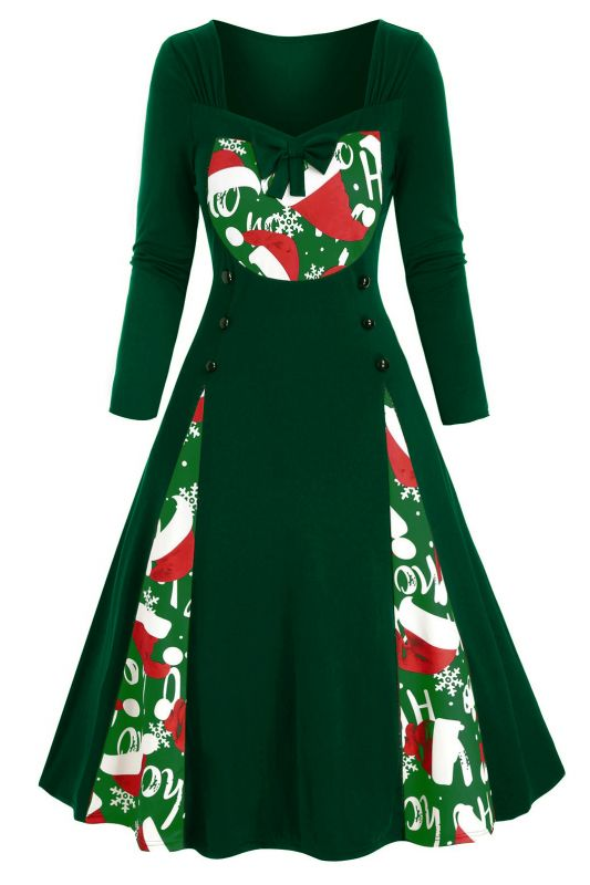 Long Sleeve Green Printe Christmas Party Dress SD1149