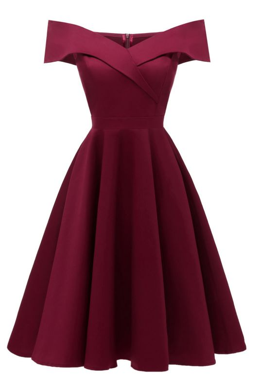 Chic Burgundy Off-the-Shoulder Short Christmas Party Dress
