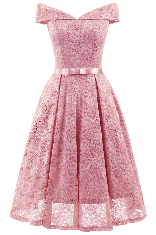 Pink Lace Off-the-Shoulder Christmas Party Dress SD1022