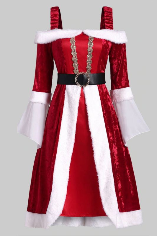 Long Sleeves Red Christmas Dress SD1005