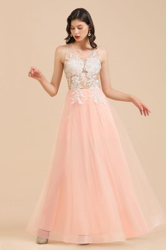 Round Neck Lace Appliques Long Evening Prom Dress