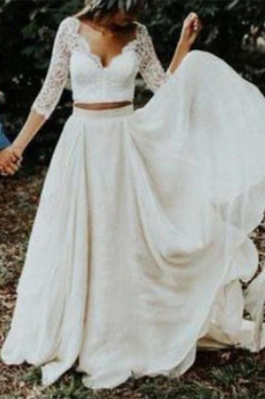 Two Piece Tulle Appliques Wedding Dress 3/4 Sleeves Bridal Gowns with Train