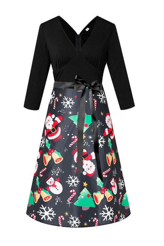 Charming Christmas Dress V-Neck Print Party Gown SD1004