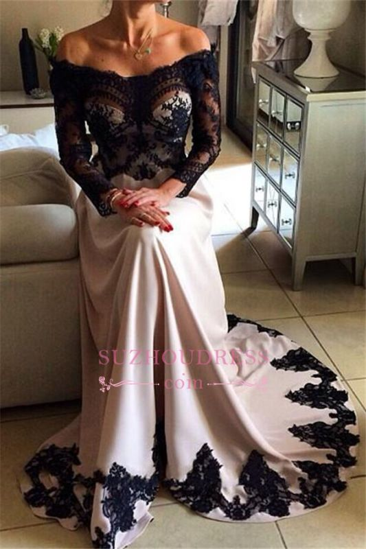 Stunning Long Sleeveless Lace Appliques Evening Gown | 2020 Strapless Black Evening Dresses