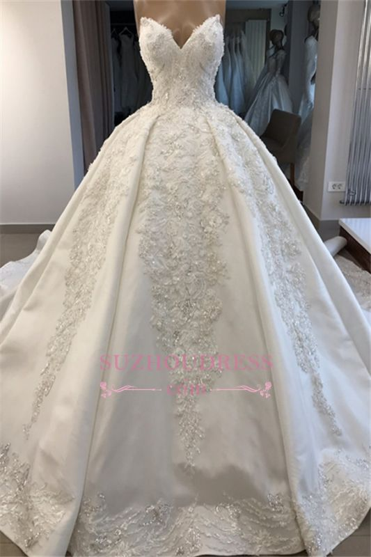 Ball-Gown Sweetheart Appliques Brilliant Sleeveless Wedding Dresses