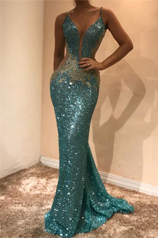 Shiny Sequins V-neck Cheap Prom Dresses 2020 | Appliques Sleeveless Sexy Evening Gown
