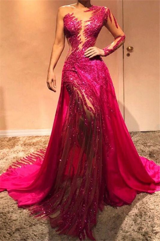 Glamorous One Shoulder Sequins Evening Dresses with Sleeves | 2020 Sexy Sheath Prom Dresses Cheap BC0504