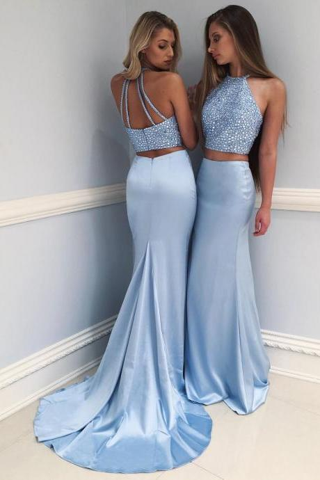 Gorgeous Blue Mermaid Two Pieces Prom Dresses 2020 Crystal Court Train Evening Gowns SK0082