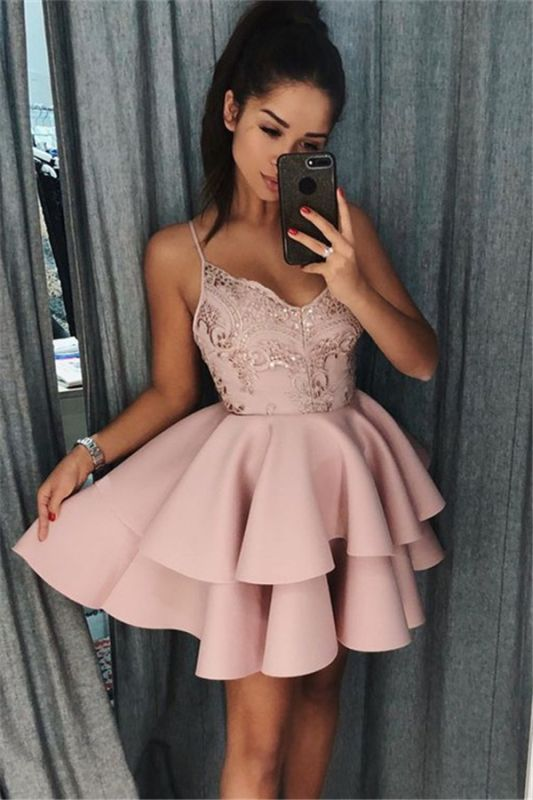 Pink Spaghetti Straps Short Homecoming Dresses   Tiered Appliques Cheap Hoco Dresses 2020