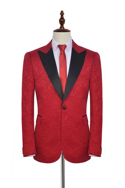 Bright Red Jacquard Tuxedos Wedding Suit Cheap | Black Shawl Lapel Tailored Slim Fit Prom Suits (Blazer Pants)