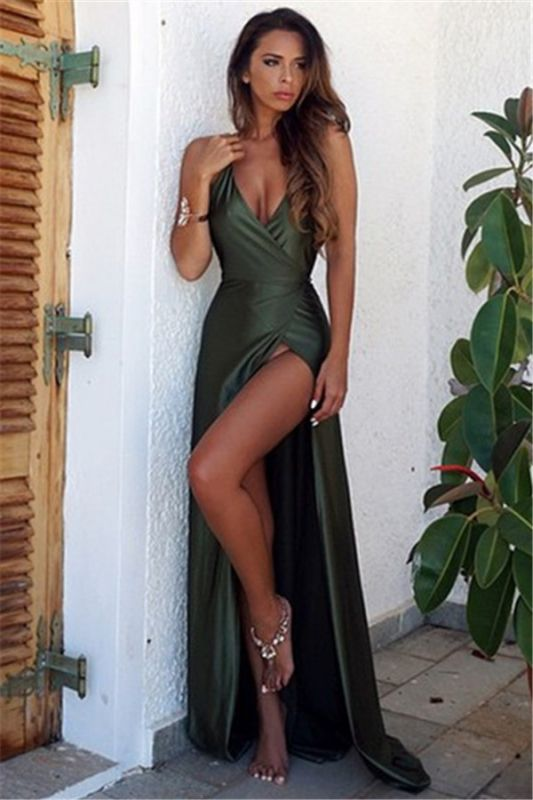 Straps Halter Sexy V-neck Dark Green Evening Dress Side Slit Backless 2020 Formal Dress Cheap FB0019